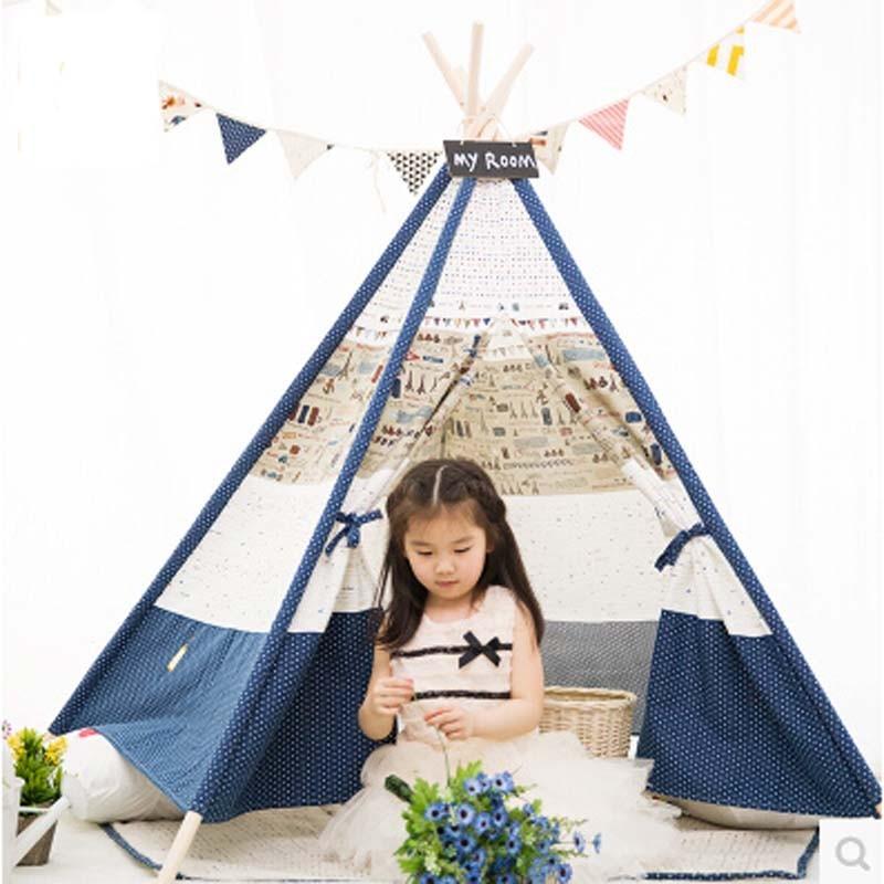 Tienda de juego Teepee para niños 100% algodón lona interior o al aire libre tienda de campaña para niños Mamá y Bebés