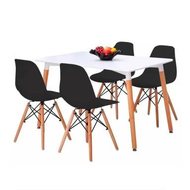 4 sillas Eames Negras + Mesa Cuadrada 120x80