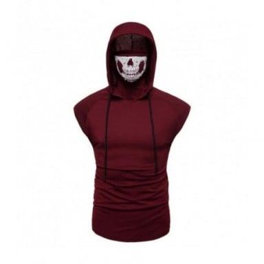 Nueva camiseta para hombre, superelástico, fitness, uniforme ninja para hombre, camiseta sin mangas con capucha, máscara de cala