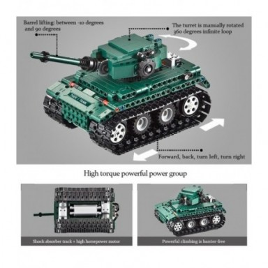 Cada 313 Uds RC militar Tigre 1 tanques de construcción bloques Compatible técnica WW2 mundo Ejército alemán ladrillos juguete d
