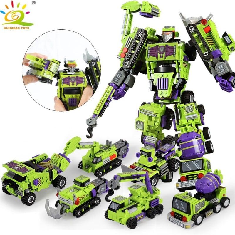 Robot de transformación 6 en 1 de 709 Uds., bloques de construcción, ingeniería urbana, excavadora, camión, juguete de constr...