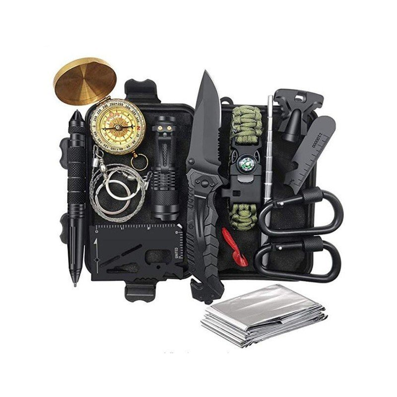 De Emergencia Kit de supervivencia de Kit de primeros auxilios SOS herramienta táctica linterna con Molle bolsa adecuado para...