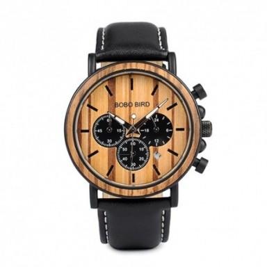 BOBO BIRD P09 relojes de madera y acero inoxidable Relojes de mano luminosos para hombre relojes de pulsera de cuarzo en caja de