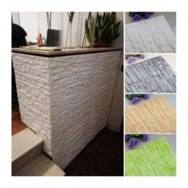 Adhesivos para pared DIY de espuma de PE y ladrillo 3D, pegatinas para paneles para habitación, decoración de piedra en relieve