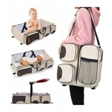 Bolsa de cambio portátil 3 en 1, bolsa de pañales multifunción para bebés, para cochecito, impermeable, bolsa de viaje para bebé