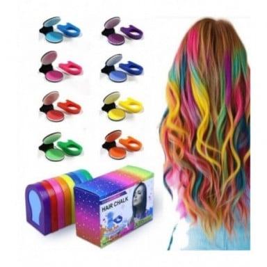 Tiza en polvo portátil para el cabello, 8 colores, tinte para el cabello, Pastel temporal, tinte para el cabello, pasteles suave