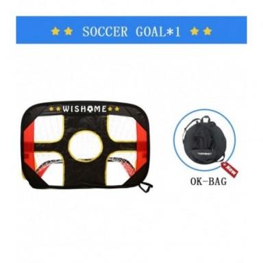 Portería de fútbol WISHOME 2 en 1 para niños, portería de fútbol y balón de fútbol de talla 3, portería de fútbol portátil de co