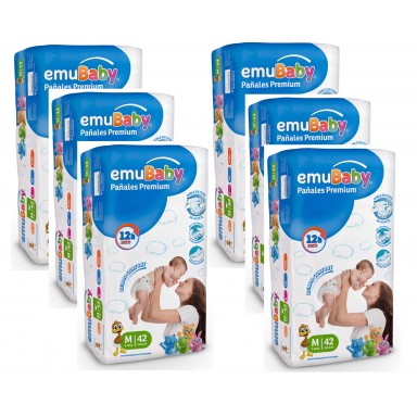 Pañales Desechables EMUBABY Premium M 42. Pack 6 bolsas