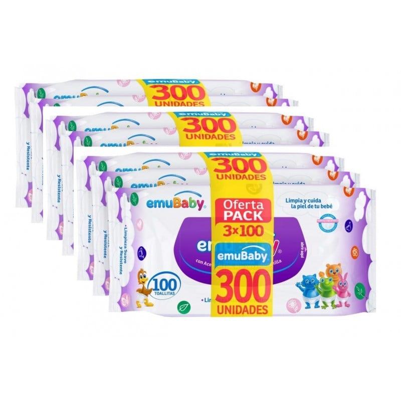 Emuwipes Toallitas Humedas. Pack3 cajas de 300 unidades Niños