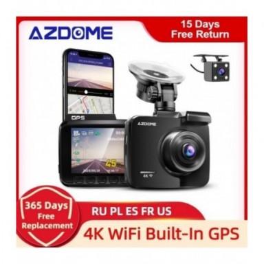 Cámara de salpicadero AZDOME GS63H 4K GPS integrado velocidad coordenadas WiFi DVR lente Dual cámara de salpicadero era visión n