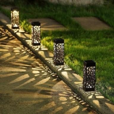 Lámpara solar de jardín, decoración de jardín, iluminación de jardín, faro de jardín solar para exteriores, luces de sendero imp
