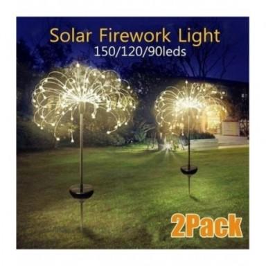 Lámpara de diente de león de globo de hierba alimentada por energía Solar para exteriores, 90/120/150 LED para césped y jardín,