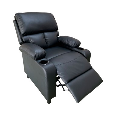 Bergere reclinable Ibiza leather Negro