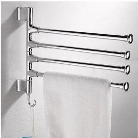 Barra rotatoria para 4 toallas de baño Hogar