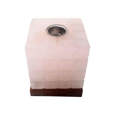 Lampara de sal aromaterapia cubo blanca