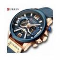 Curren relojes deportivos informales para hombre reloj de pulsera de cuero militar de lujo de marca azul reloj de pulsera de cro