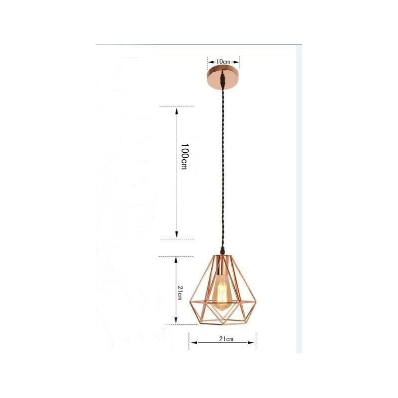 Lámpara colgante moderna de metal con forma de jaula de diamantes, lámpara colgante de jaula de oro rosa vintage, lámpara colgan