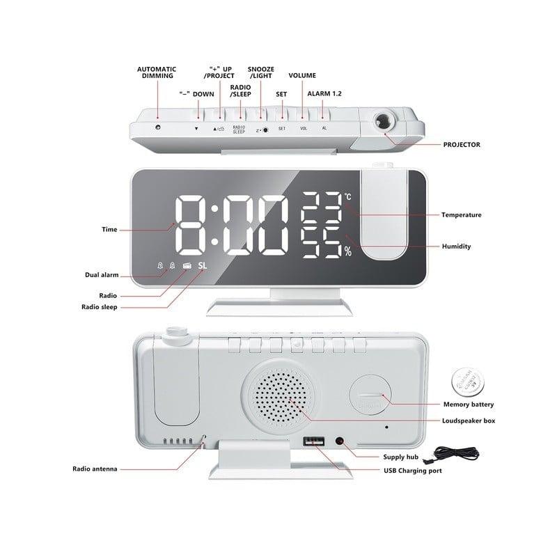 Reloj despertador Digital LED con Radio FM, reloj de mesa electrónico de escritorio, despertador con USB, con tiempo de proye...