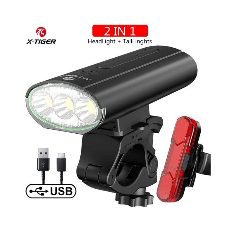 X-tiger-faro para bicicleta de montaña, lámpara con batería externa recargable, LED, 5200mAh, accesorios para bicicleta linte...