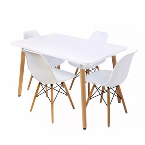 4 sillas Eames + mesa rectangular Inicio