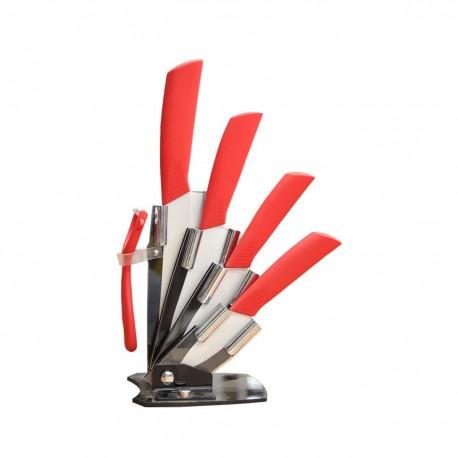 Set 4 cuchillos 100% cerámica más soporte acrílico Hogar