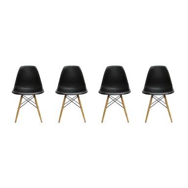 Pack de 4 Sillas Modernas tipo Eames DSW Color Negro