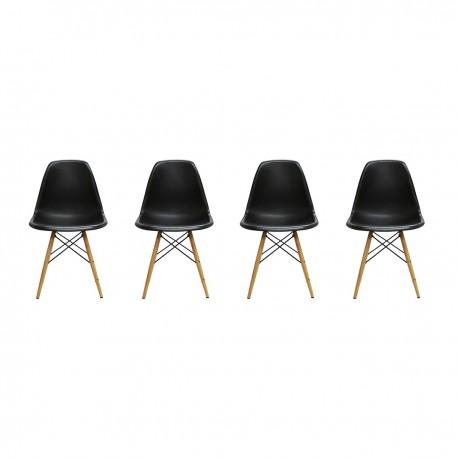 Pack de 4 Sillas Modernas tipo Eames DSW Color Negro Inicio