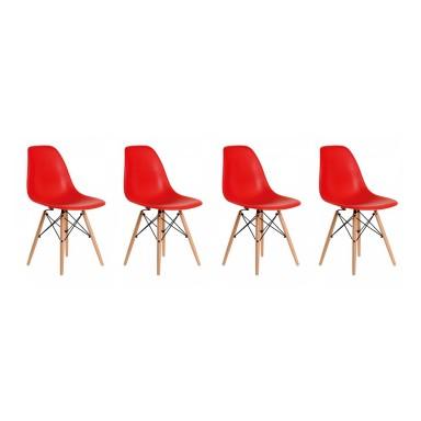 Pack de 4 Sillas Modernas tipo Eames DSW Color Rojo