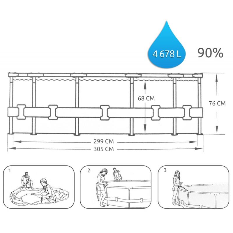 Piscina 3 metros estructural ovalada bestway 56448 piscina for Cubre piscinas bestway