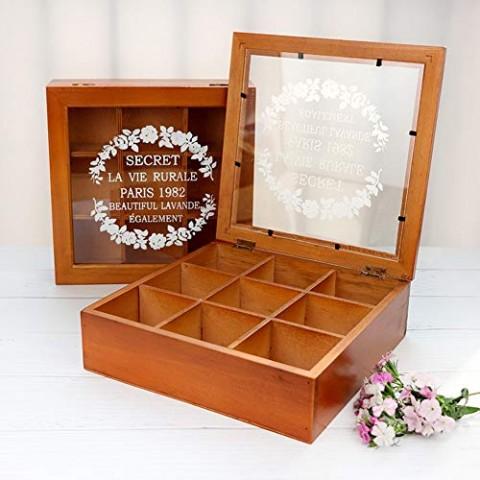Caja para Té de madera de 9 compartimientos color Hogar
