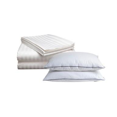 Juego sabanas satinadas 2P + pack de almohadas Biancobelo