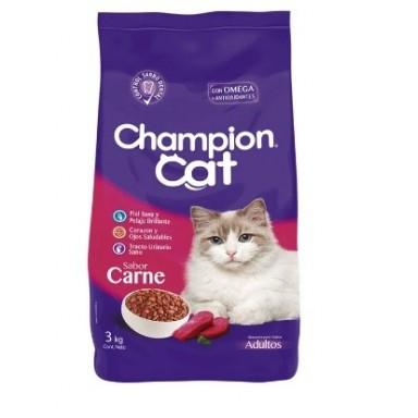 Champion Cat 6 x 3 Kgrs Carne. Pack de 6 Bolsas 3 Kgr.