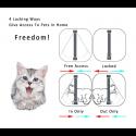 Gomaomi Puerta de aleta de gato con cerradura de 4 vías Puerta de solapa de seguridad para perro gato gatito pequeño juego de...
