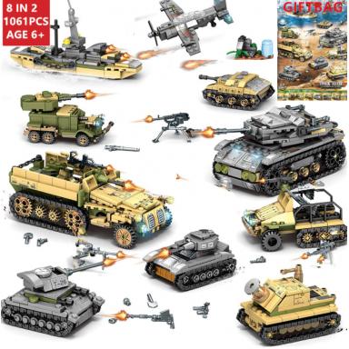 1061 Uds., técnica militar, hierro, Imperio, bloques de construcción de tanques, juegos de armas, carro de guerra, creador, ejér