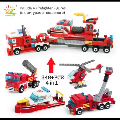 Kit 4 en 1 Juego contra Incendios. Helicoptero, camion, lancha y Carro Bomba y
