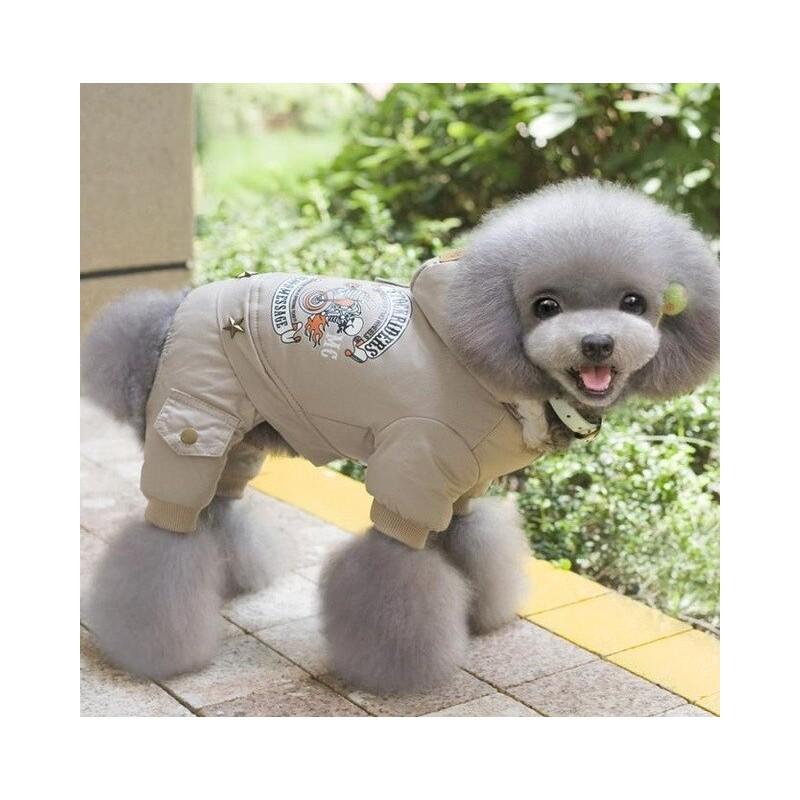 Perro de mascota ropa de invierno cálido perro abrigo verde mono espesar ropa para mascotas Teddy perros traje cachorro ropa ...