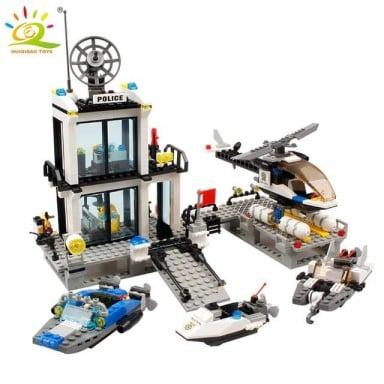 536 piezas estación de policía prisión camiones de construcción bloques compatible legoing ciudad coche barco helicóptero de Pol