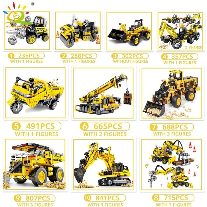 HUIQIBAO ingeniería Bulldozer Crane Technic volquete camión de bloques de construcción ciudad vehículo de construcción coche ...