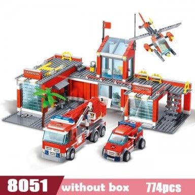 Nueva estación de fuego de ciudad Legoes conjuntos de bloques de construcción bomberos camión de bloques de combate juguetes Pla